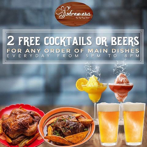 2 free drinks for every order of Main dish - Launched November 2016